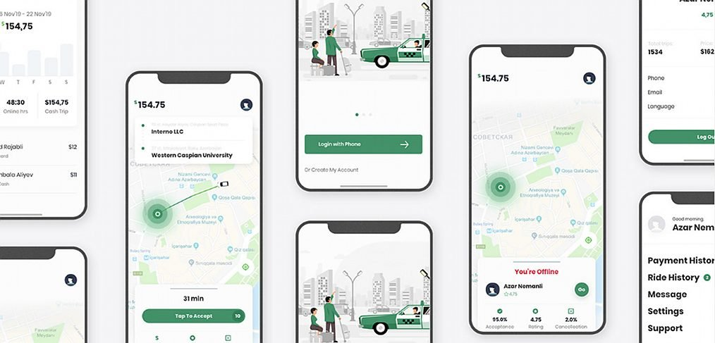 Taxi service free UI kit for XD