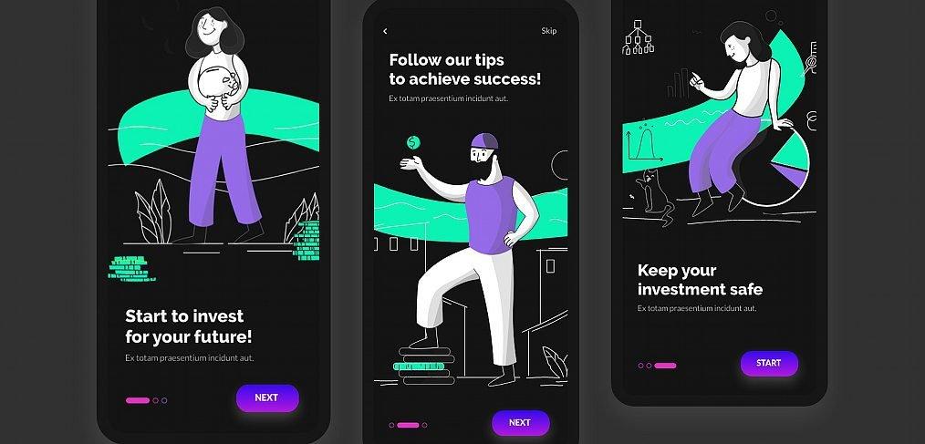 Trading app onboarding XD screens