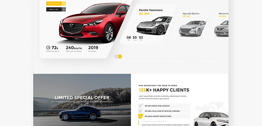 Car auction XD website template