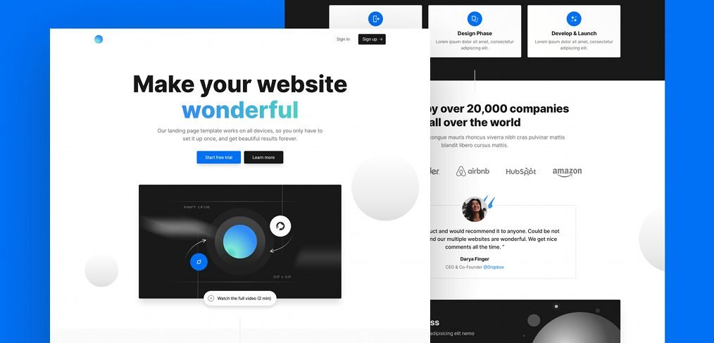 Tailwind React landing page template