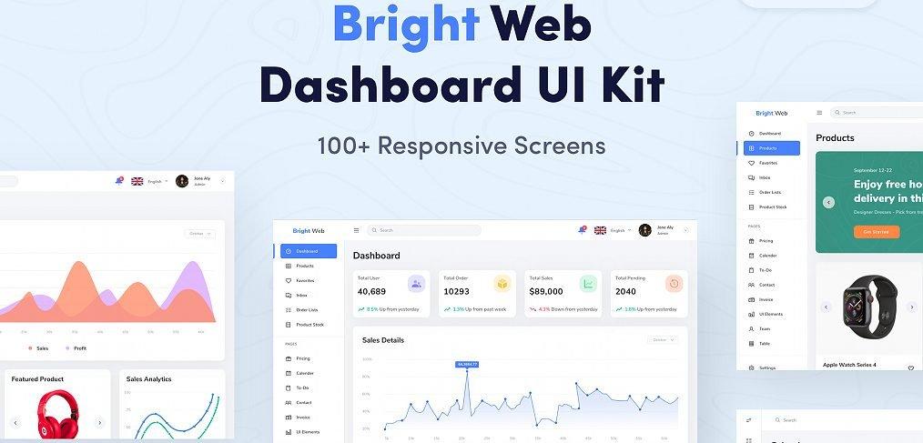 Bright XD Dashboard UI Kit (Premium)
