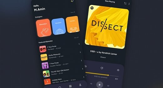 Podcast mobile app XD template