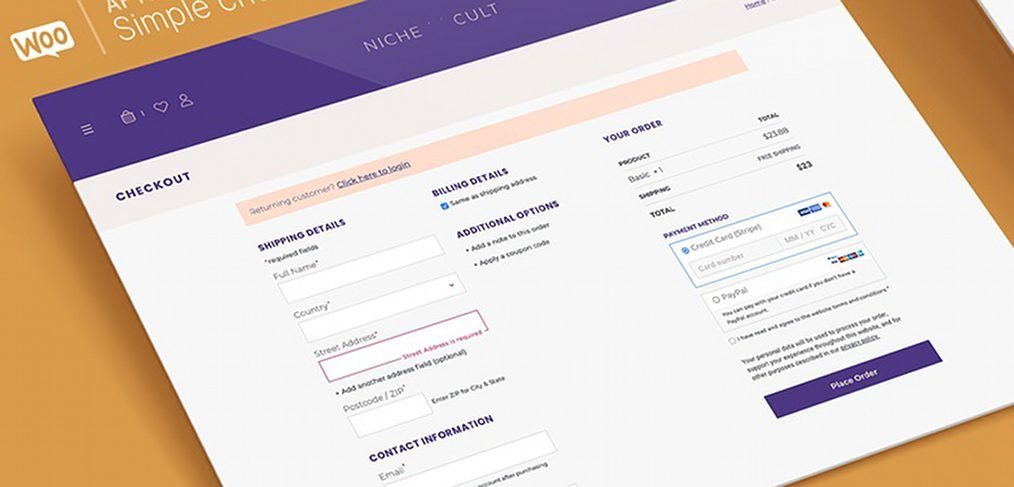 Simple XD checkout form template