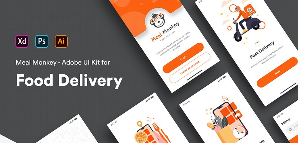 Food delivery iOS XD app template