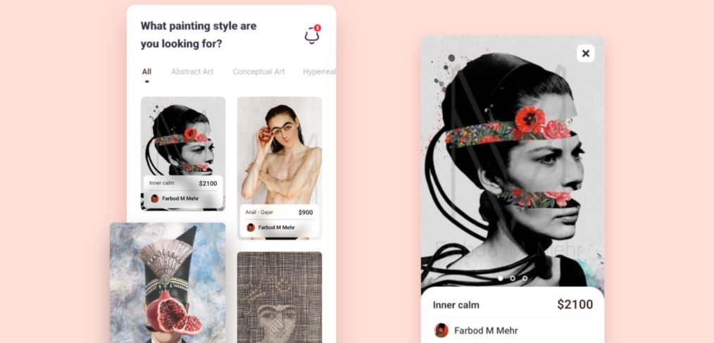 Art ecommerce app template for XD