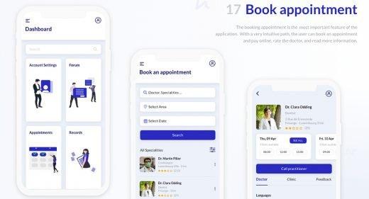 Medical app free UI kit for XD