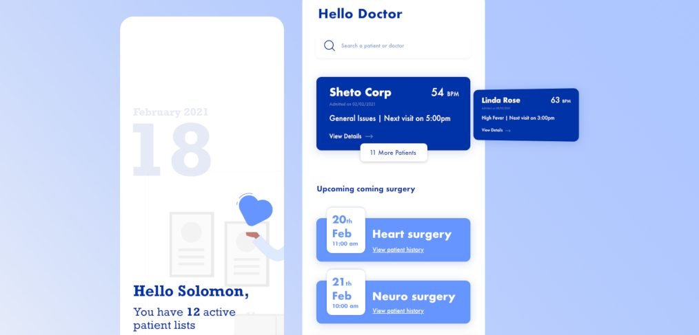 XD doctor mobile app concept