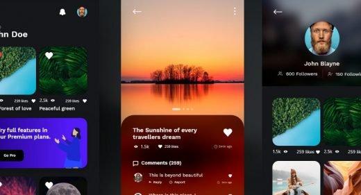 Adobe XD photography app template