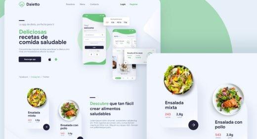 Daietto - Healthy food XD landing template