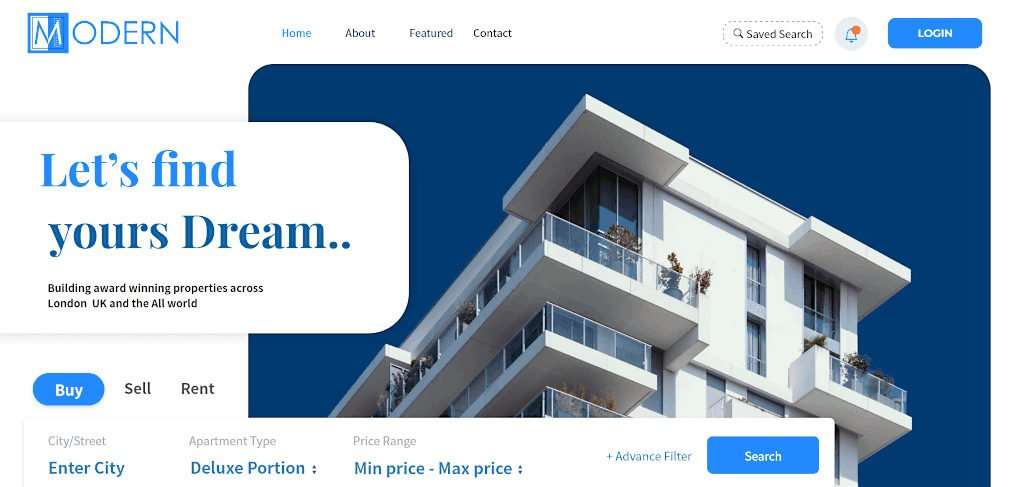 Adobe XD real estate site template
