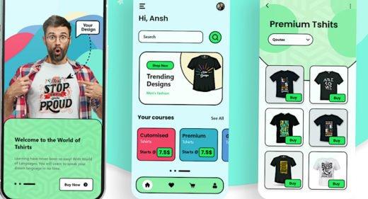 Adobe XD t-shirt printing app concept