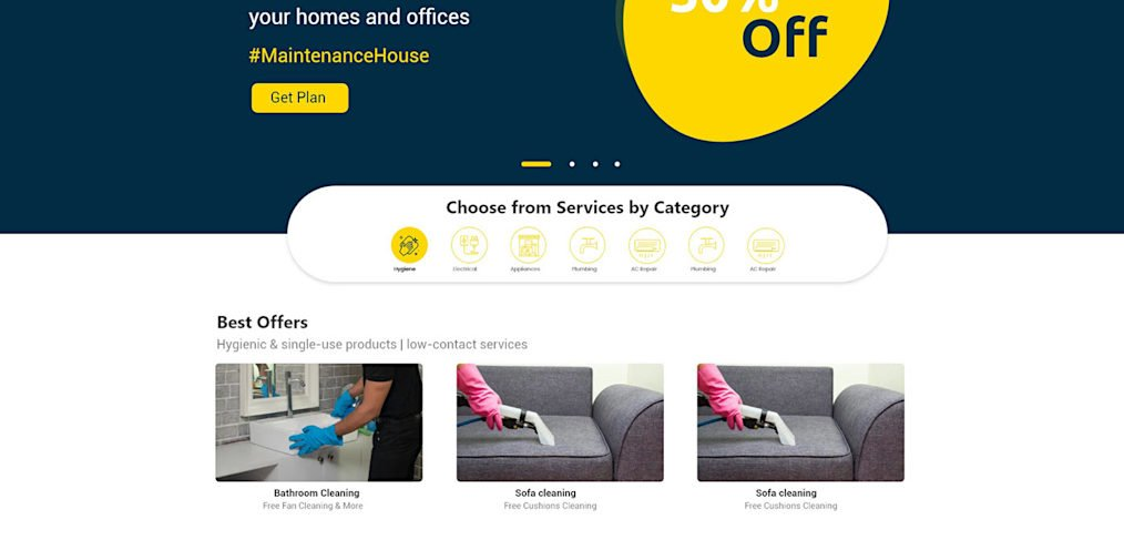 Cleaning service XD website template
