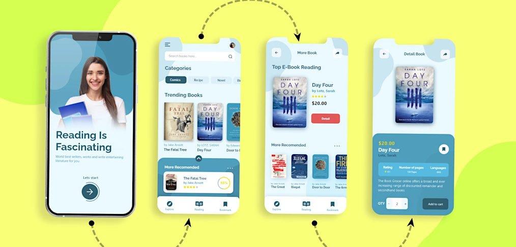 Ebook store XD app concept