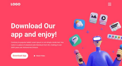 Free app landing page template for XD