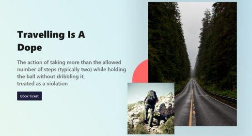 Travel website header XD design