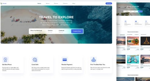 XD new travel website template