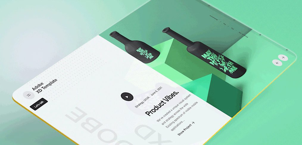 Creative product page XD concept