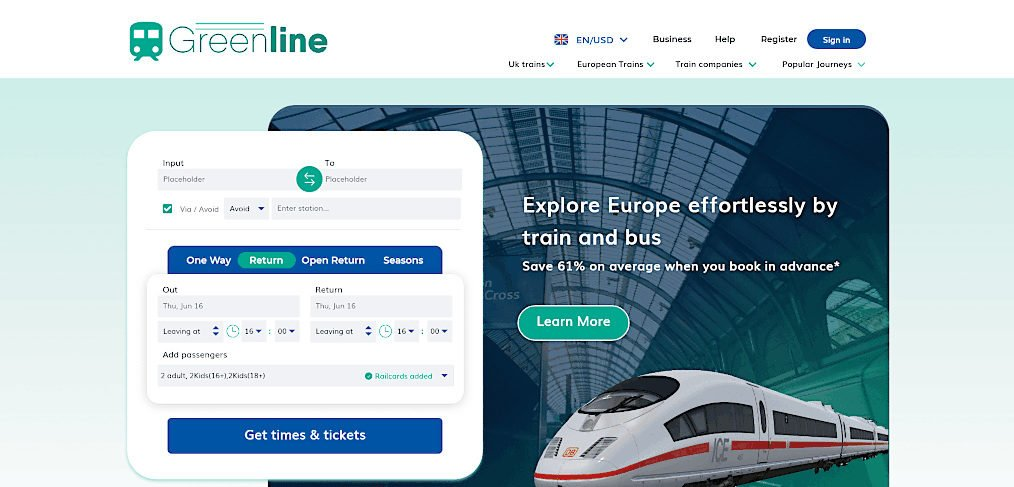 Train booking XD website template