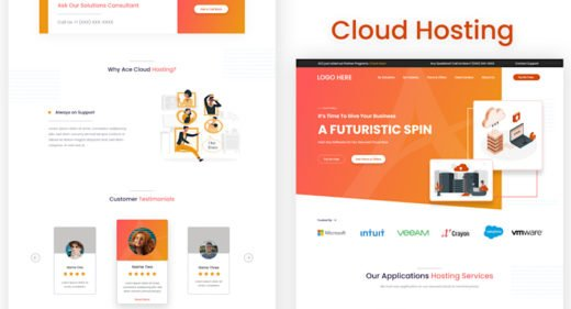 Cloud hosting template for Adobe XD