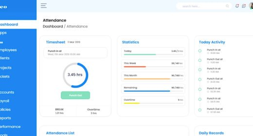 Dashboard attendance XD template