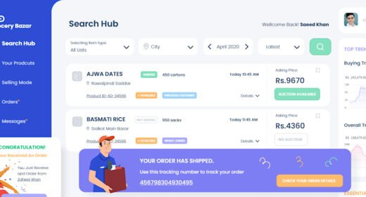Grocery bazar dashboard template for XD