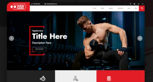 Gym / Fitness website template for XD