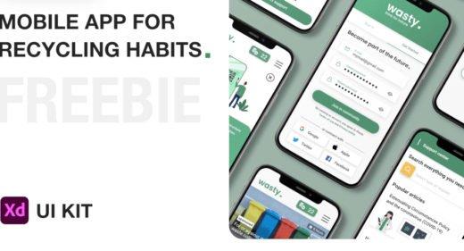 Wasty free mobile XD UI kit